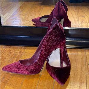 Burgundy Velvet Snakeskin Heels